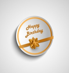 Birthday card sticker with gold ribbon vector