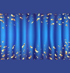 Blue curtain gold confetti greeting card vector