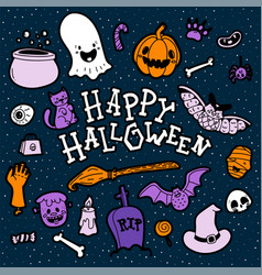 bright greeting card for halloween vector image