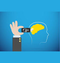 Business hand plugging lightbulb flash drive vector
