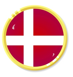 Button with flag Denmark vector