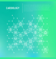 Cardiology concept in honeycombs vector
