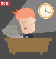 Cartoon business man working with computer - vector image vector image