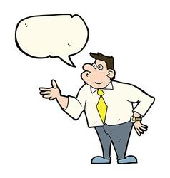 Cartoon businessman asking question with speech vector
