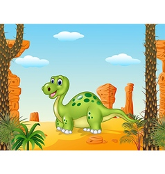 Cartoon happy dinosaur with prehistoric background vector