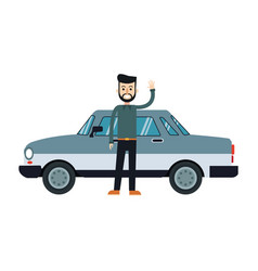 Character bearded man hipster standing with gray vector
