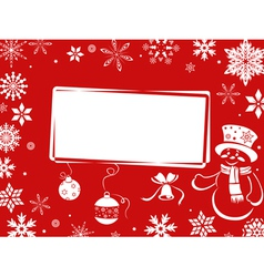 Christmas greeting card in red shades vector image