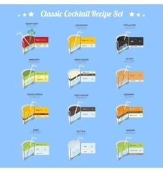 Classic cocktail recipe set vector image