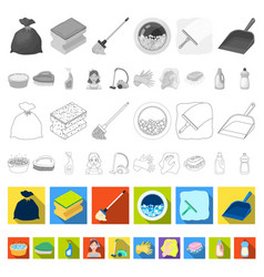 Cleaning and maid flat icons in set collection for vector