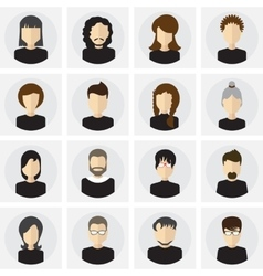 Collection of male and female faces avatars in vector image