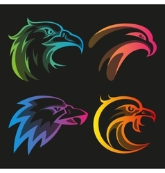 Colorful eagle head logos with rainbow gradients vector image