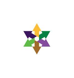 Colorful geometric arrows star logo icon design vector