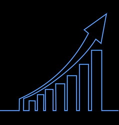 Continuous one line graph growth neon concept vector