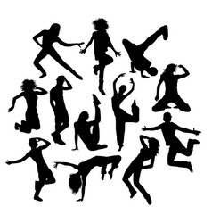 cool dance silhouettes vector image