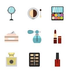 Cosmetic products icons set flat style vector