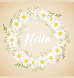 cute card with chamomile flowers wreath vector image