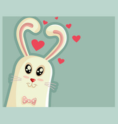 cute easter bunny with heart shaped ears vector image