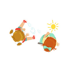 Cute little kids sitting on floor drawing vector