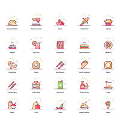 Diet food and drinks flat icons pack vector