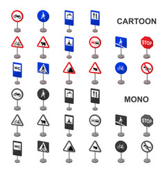 Different types of road signs cartoon icons in set vector