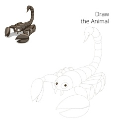 Draw animal scorpion educational game vector image