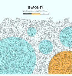 E-money doodle website template design vector