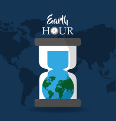 Earth hour globe inside hourglass clock map vector