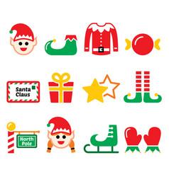 elf christmas icons set - north pole vector image
