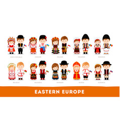 Europeans in national clothes eastern europe vector