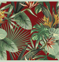 Exotic flowers tropical green leaves seamless red vector