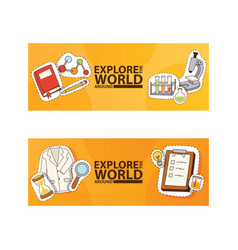 explore the world around banners chemistry vector image