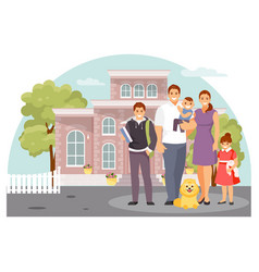 family near the house vector image