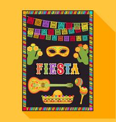 Fiesta postcard cactus sombrero maraca guitar vector