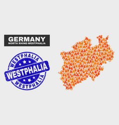 fired mosaic north rhine-westphalia land map and vector image