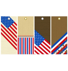 Four wooden labels with elements of usa banner vector