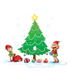 Girls decorating christmas tree vector