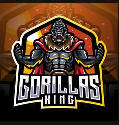 Gorilla king esport mascot logo desain vector