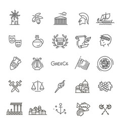 Greece line icon set vector