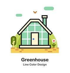 Greenhouse line color icon vector