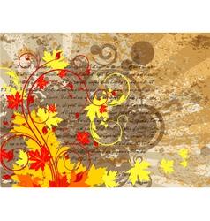 Grunge autumn floral background vector