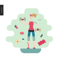 Gym - girl exercising vector
