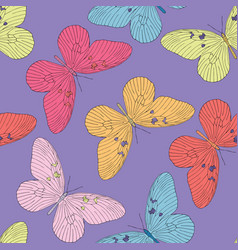 hand drawn butterfly seamless pattern vector image