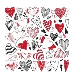 hand drawn set tribal hearts vector image