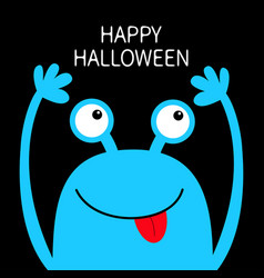 Happy halloween monster head blue silhouette two vector