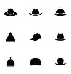 Hats 9 icons set vector