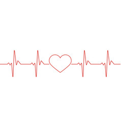 Heart pulse red and white colors heartbeat lone vector