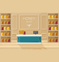 honey shop flat style store shelves with vector image