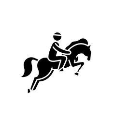horse racing black icon sign on isolated vector image