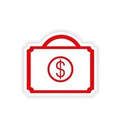 icon sticker realistic design on paper case money vector image