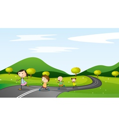kids walking background vector image